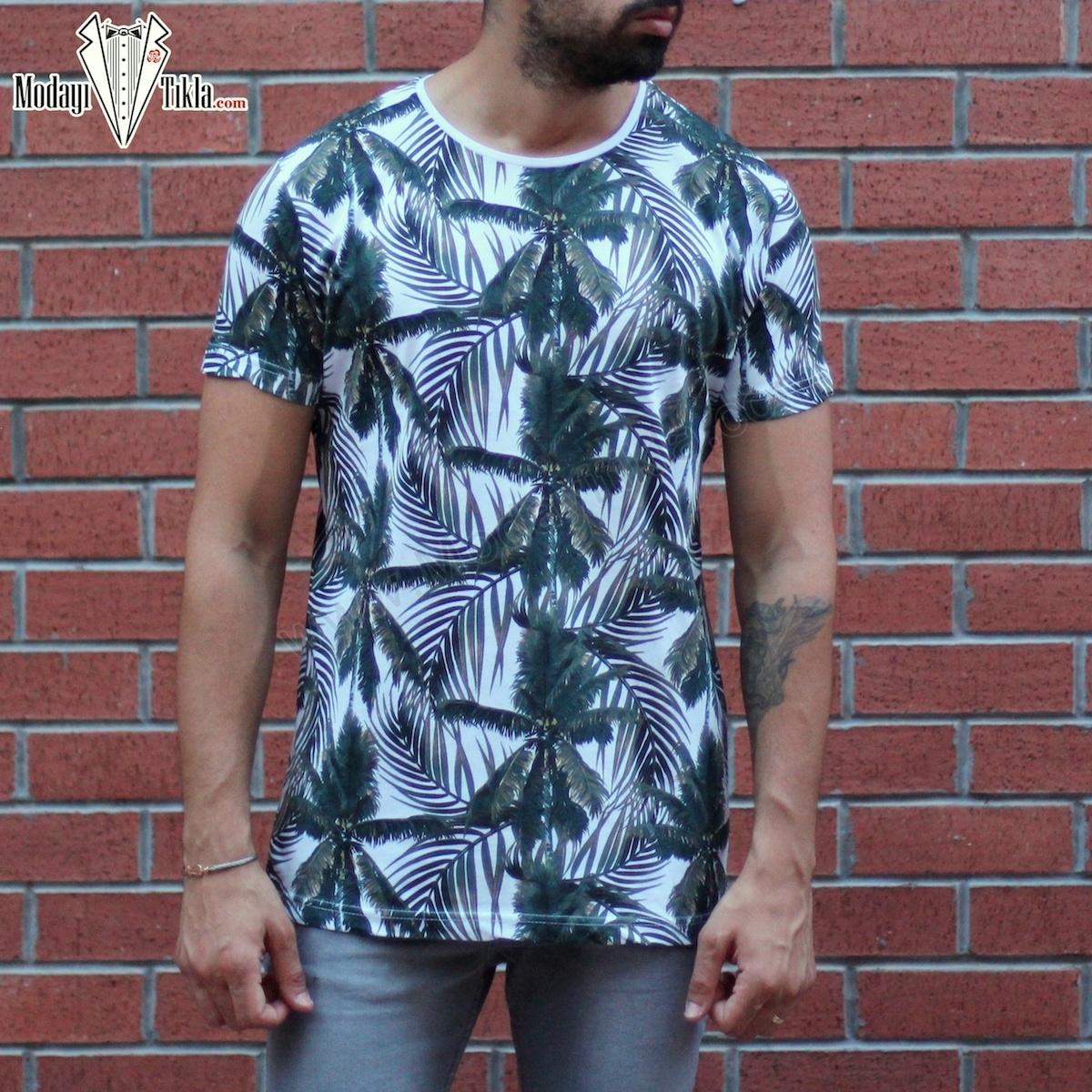 Erkek Areka Yeşil Floral T-shirt
