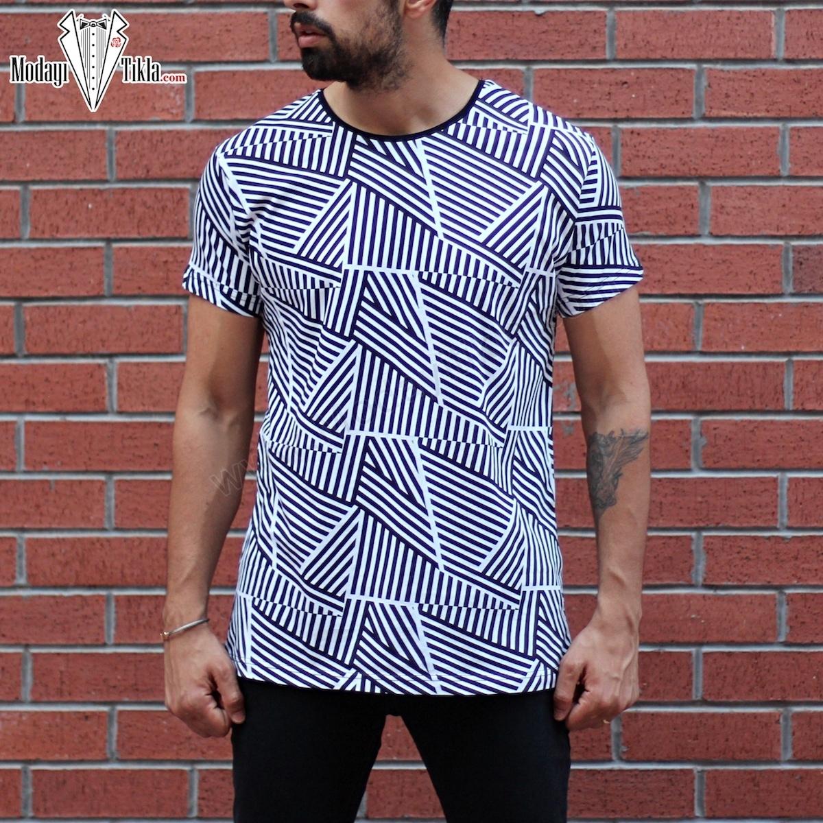 Erkek Geometrik Desen T-shirt