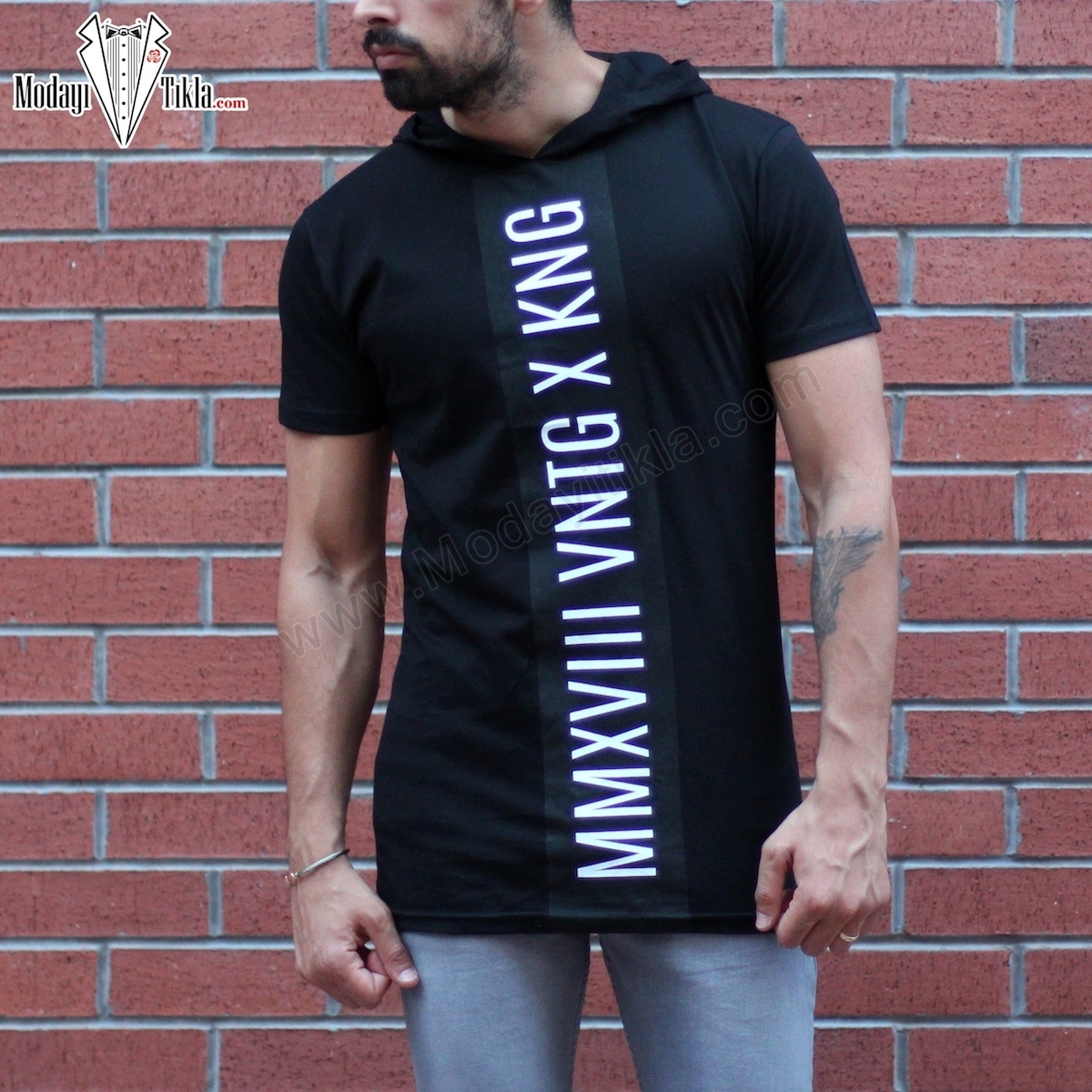 Erkek Kapüşonlu Baskılı X Siyah T-shirt