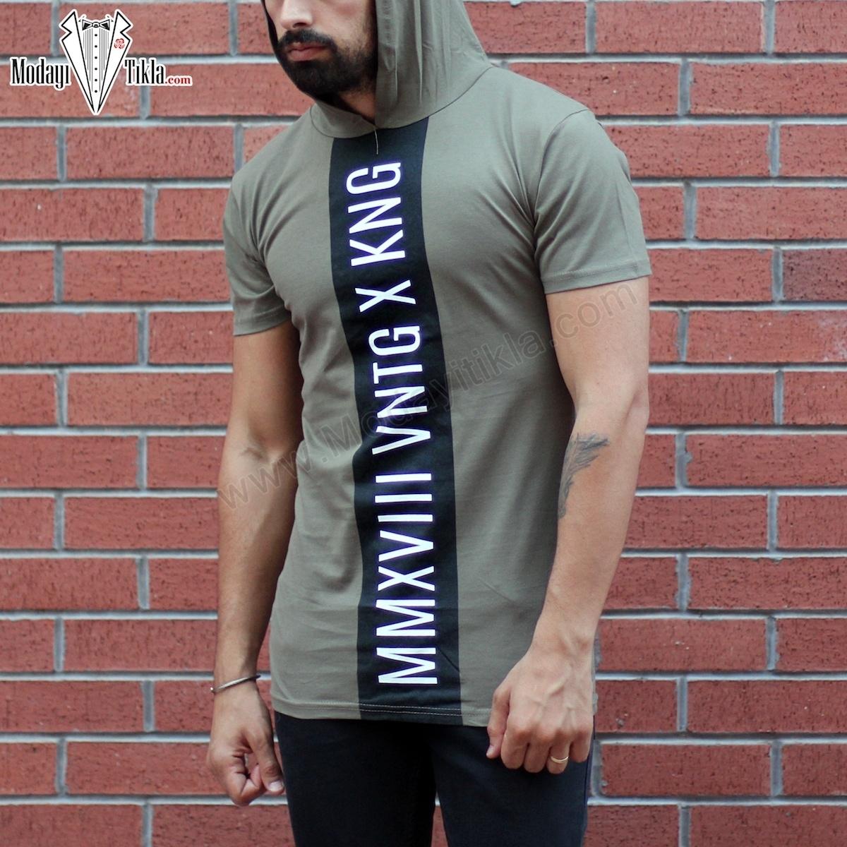 Erkek Kapüşonlu Baskılı X Haki T-shirt