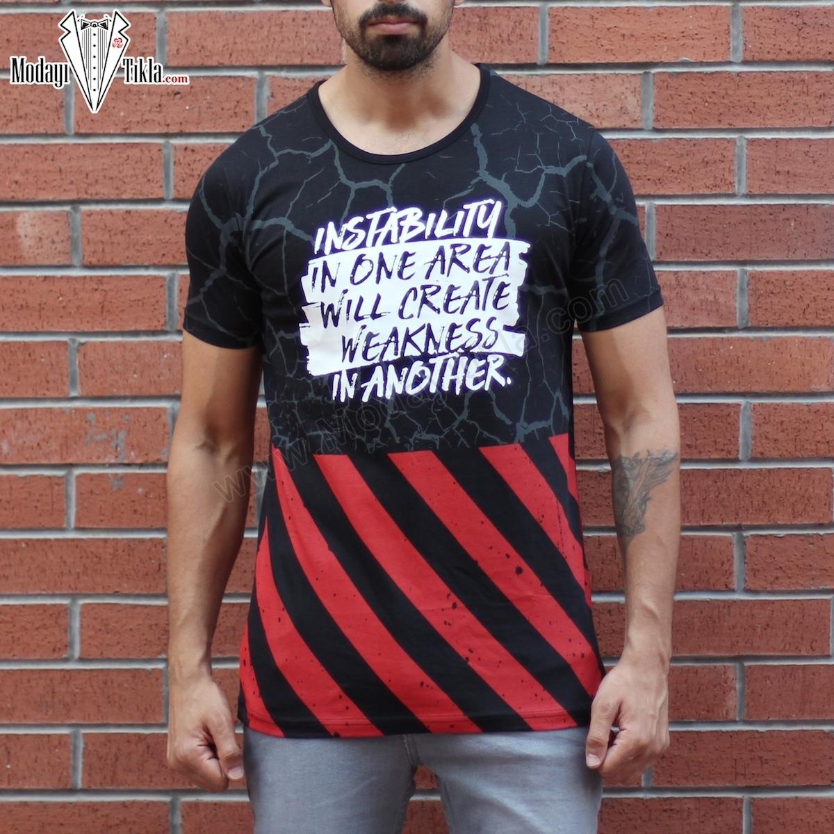 Erkek Kırmızı Siyah Lightning T-shirt