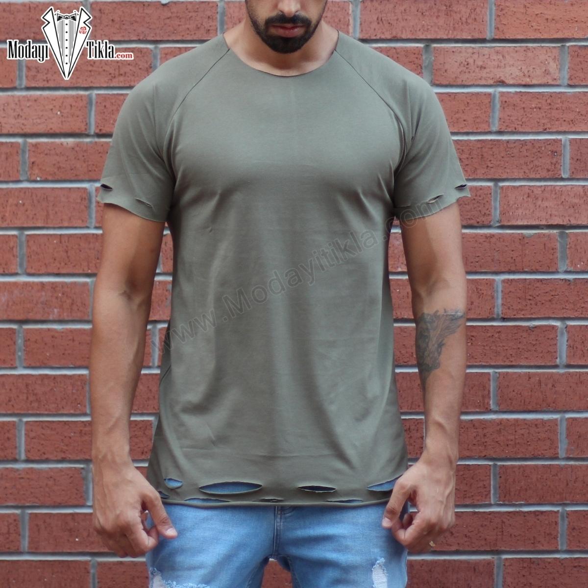Erkek Lazer Yırtıklı Basic Haki T-shirt