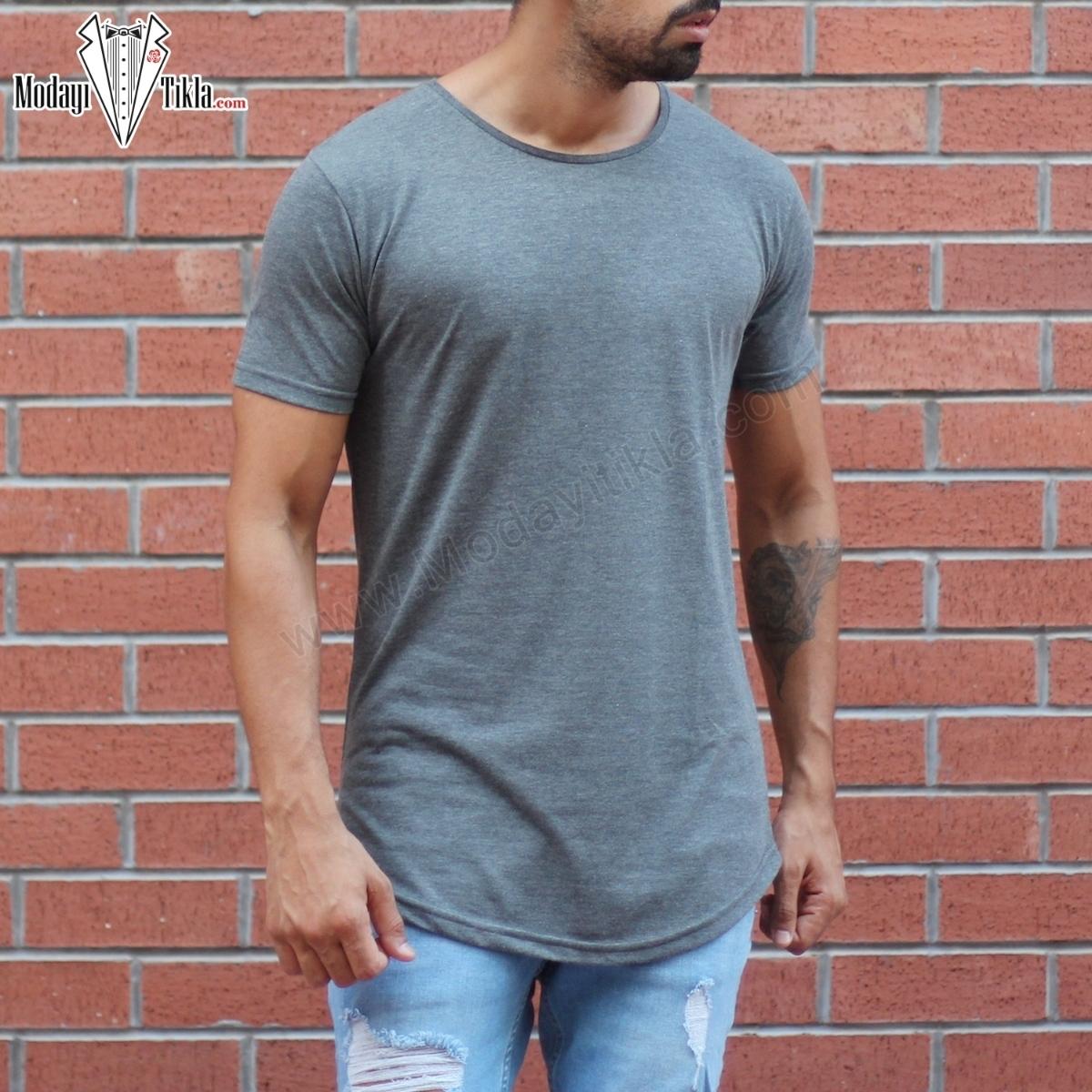 Erkek Basic Füme T-shirt