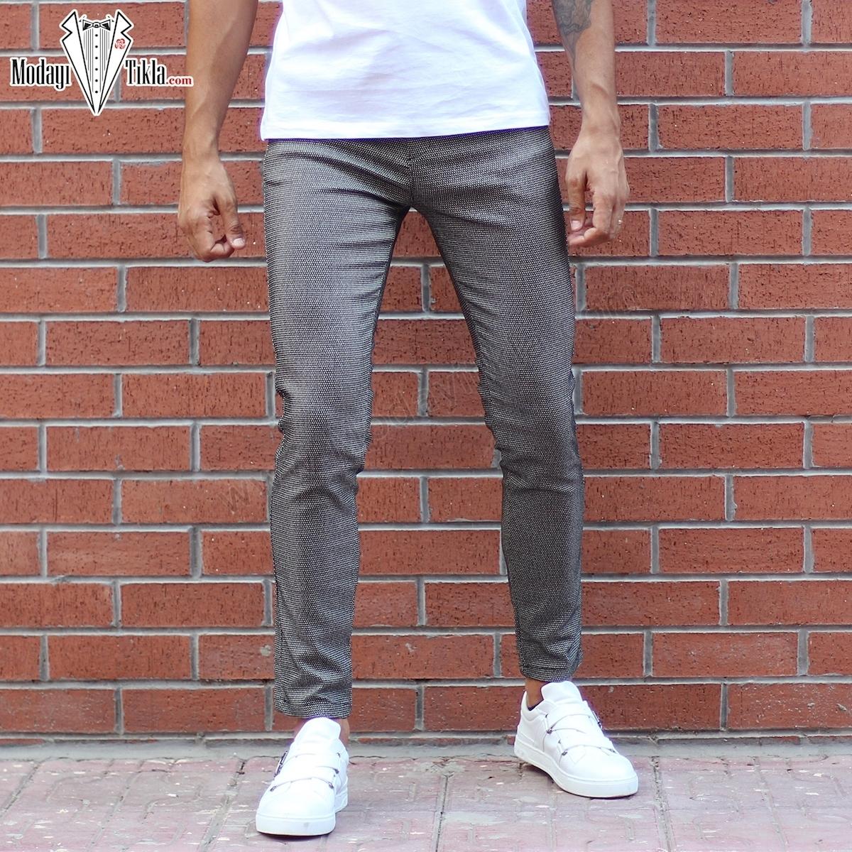 Erkek Siyah Likralı Noktalı Kumaş Pantolon