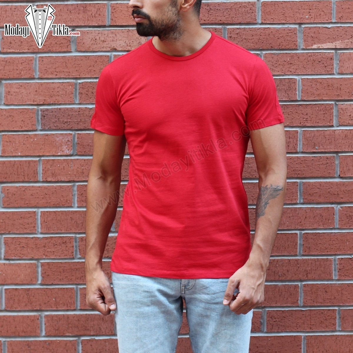 Erkek Kırmızı Kısa Basic T-shirt