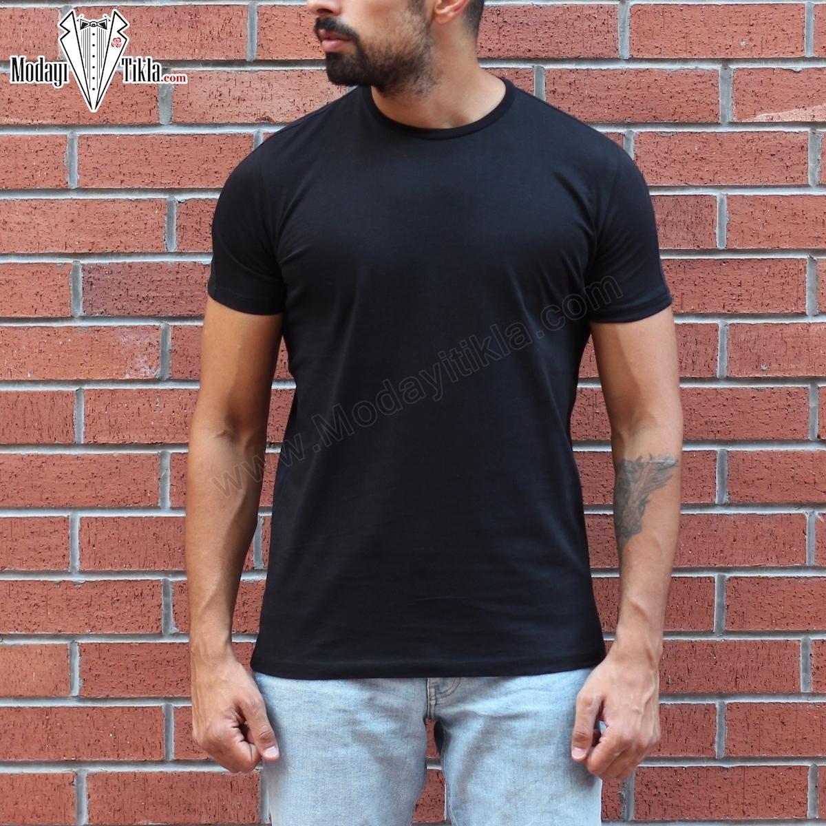 Erkek Siyah Kısa Basic T-shirt