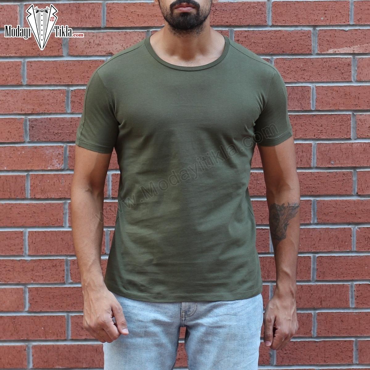 Erkek Haki Kısa Basic T-shirt