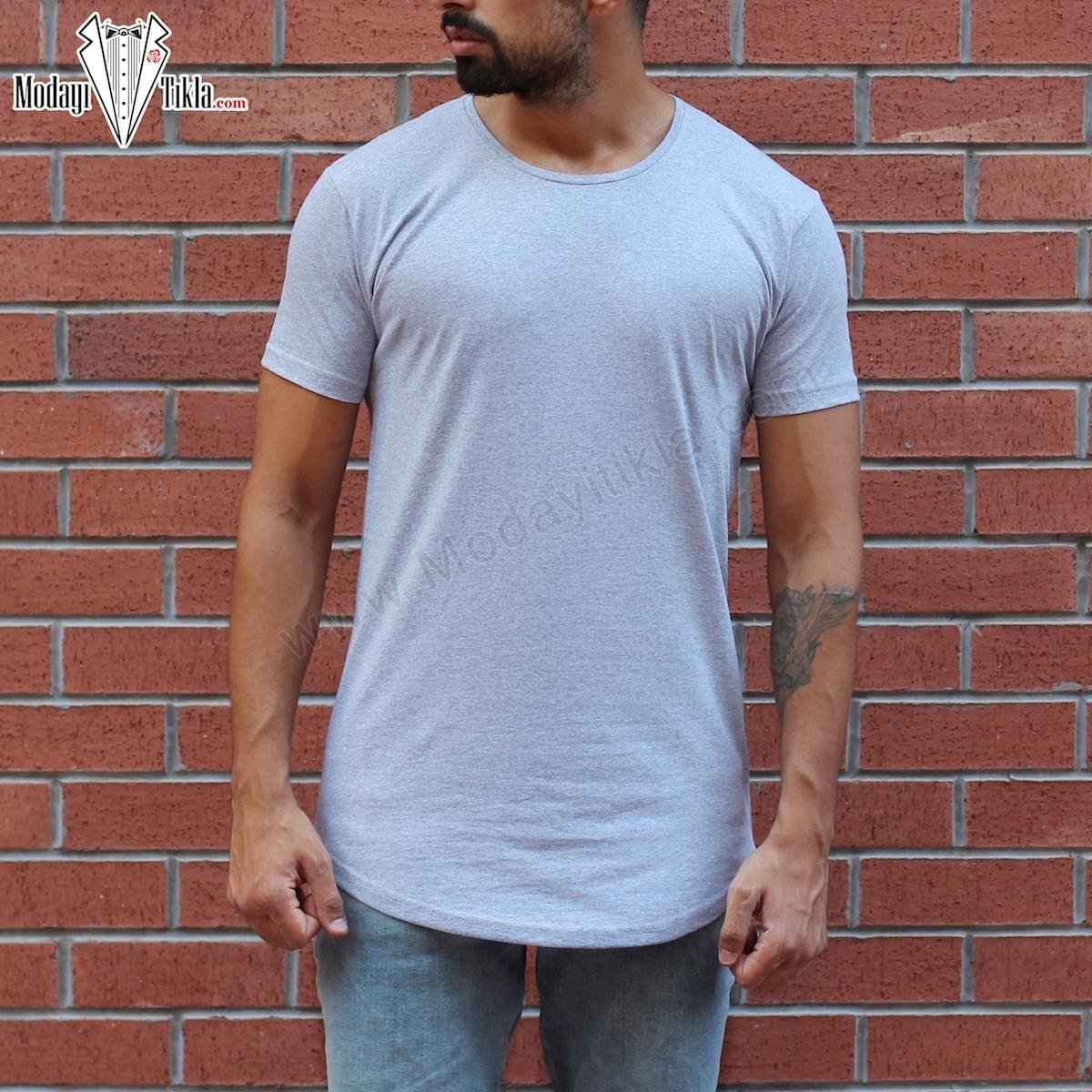 Erkek Gri Uzun Basic T-shirt