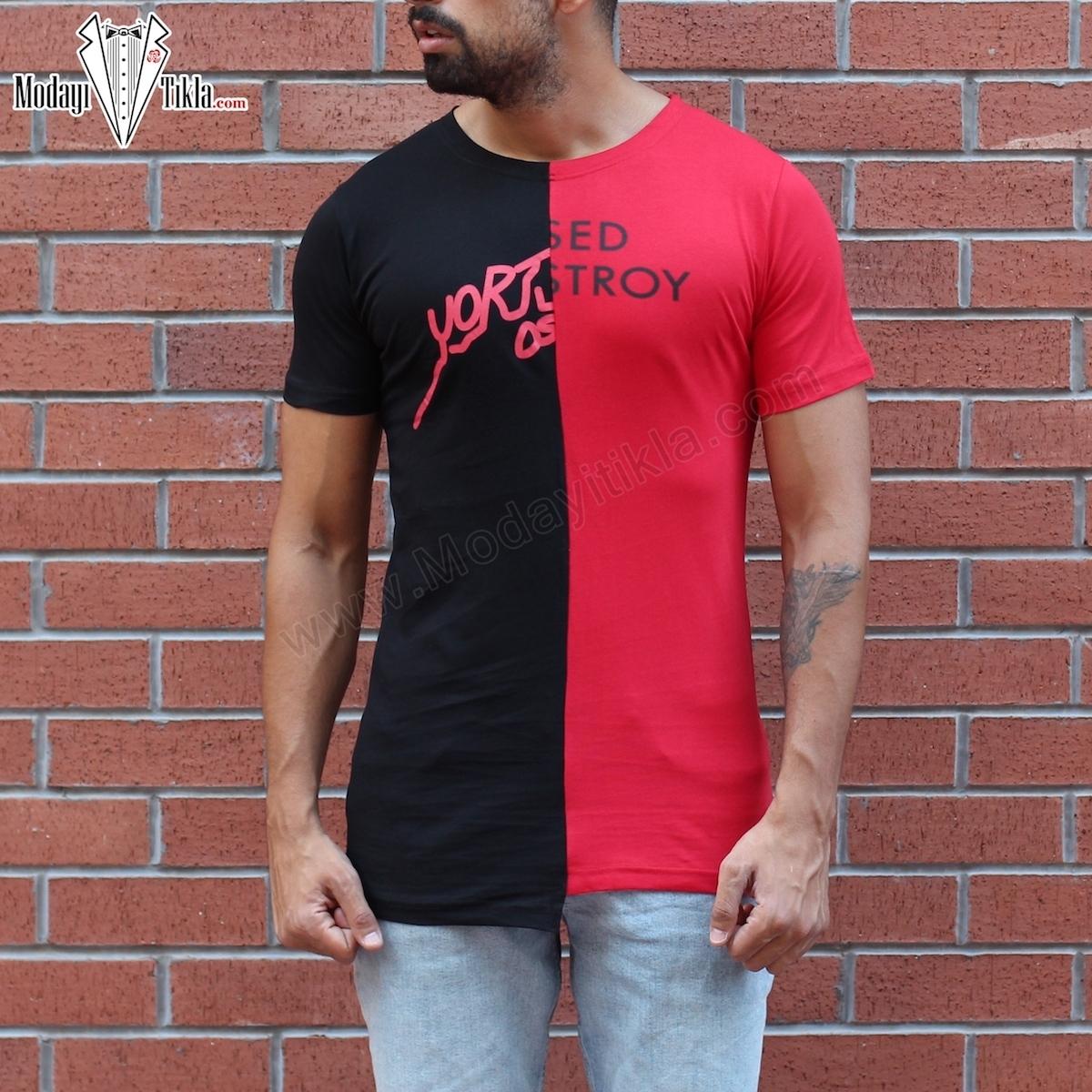 Erkek Destroy Kırmızı Siyah T-shirt