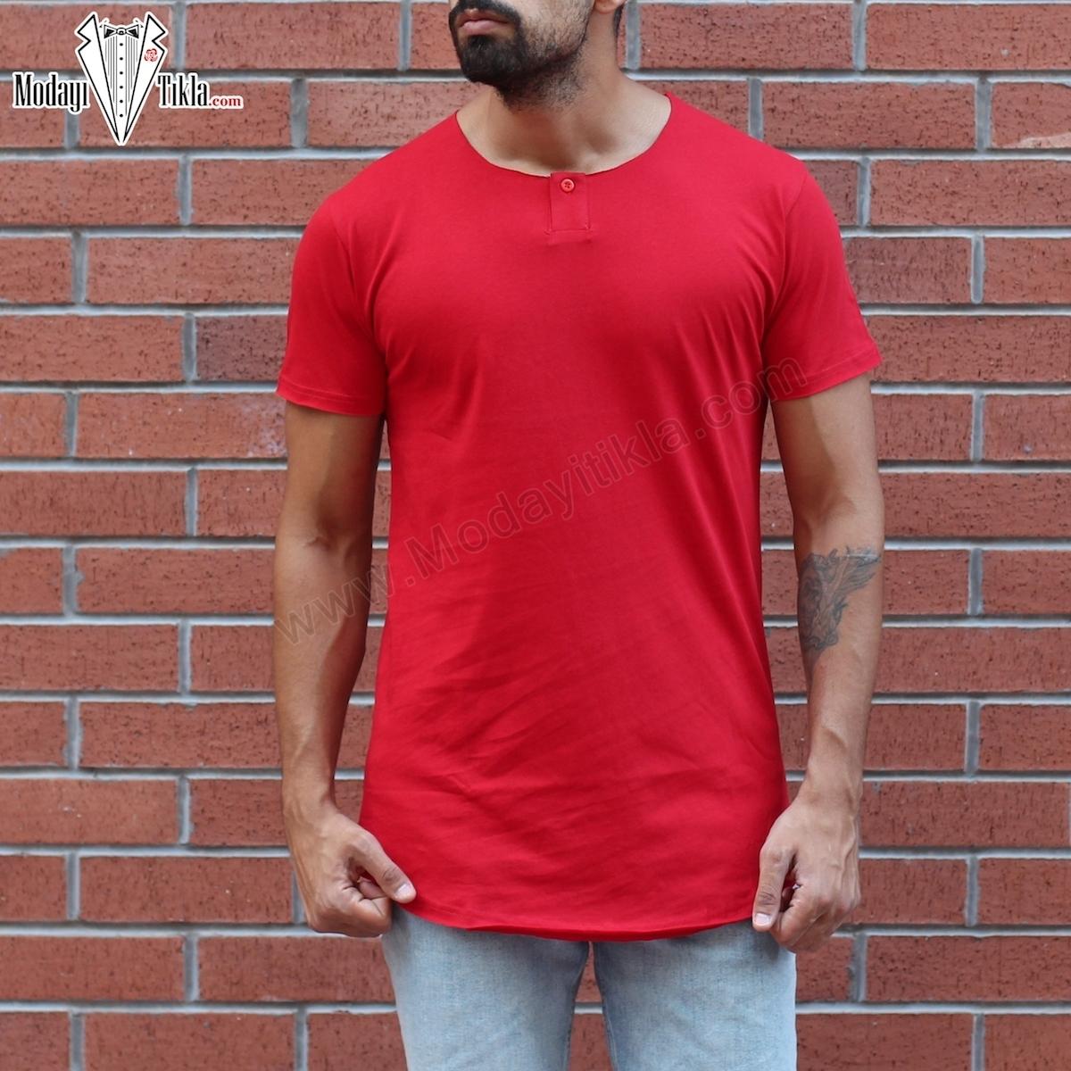 Erkek Açık Yaka Düğmeli Kırmızı T-shirt