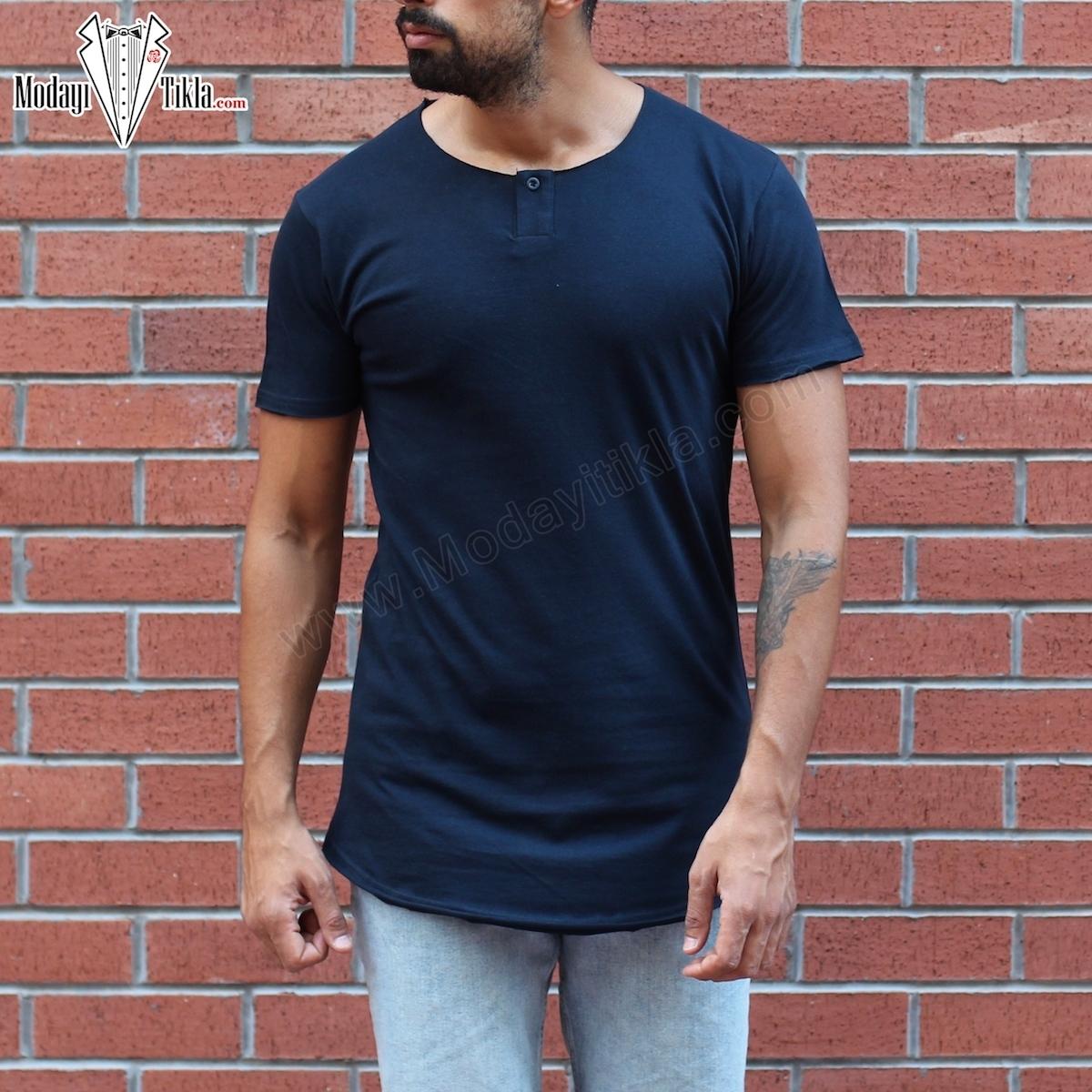 Erkek Açık Yaka Düğmeli Lacivert T-shirt