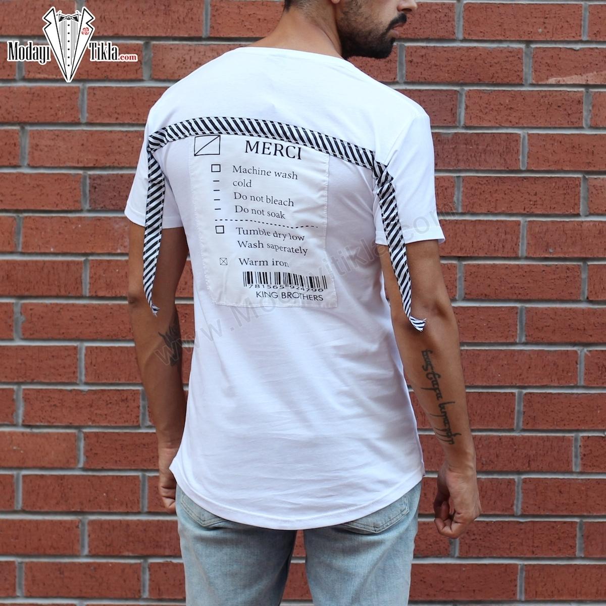 Erkek Strip Merci Beyaz T-shirt