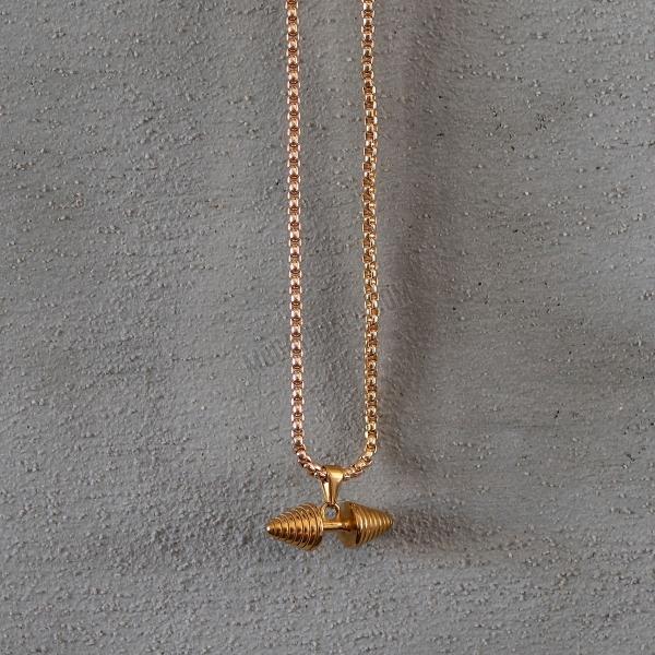 Gold Dumbbell Uzun Kolye