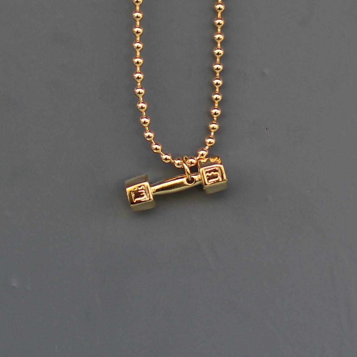 Gold Angular Dumbbell Uzun Kolye