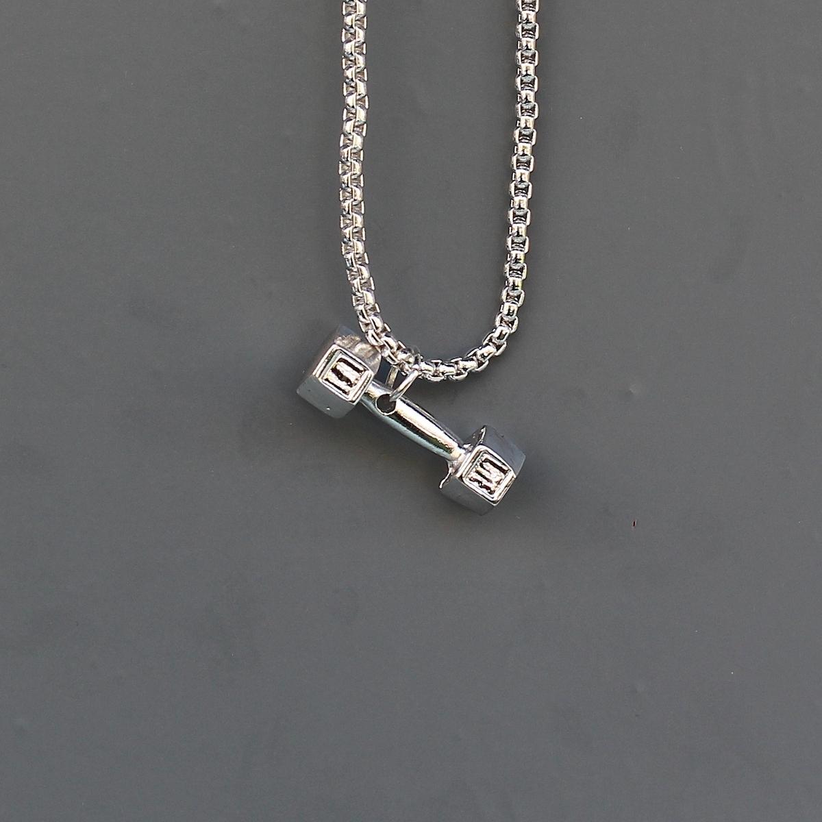 Silver Angular Dumbbell Uzun Kolye