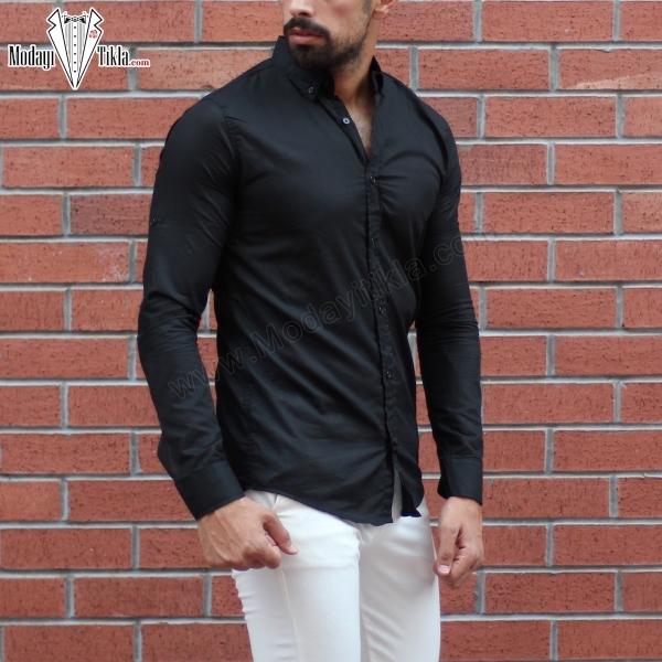 Erkek İnce Kumaş Siyah Gömlek