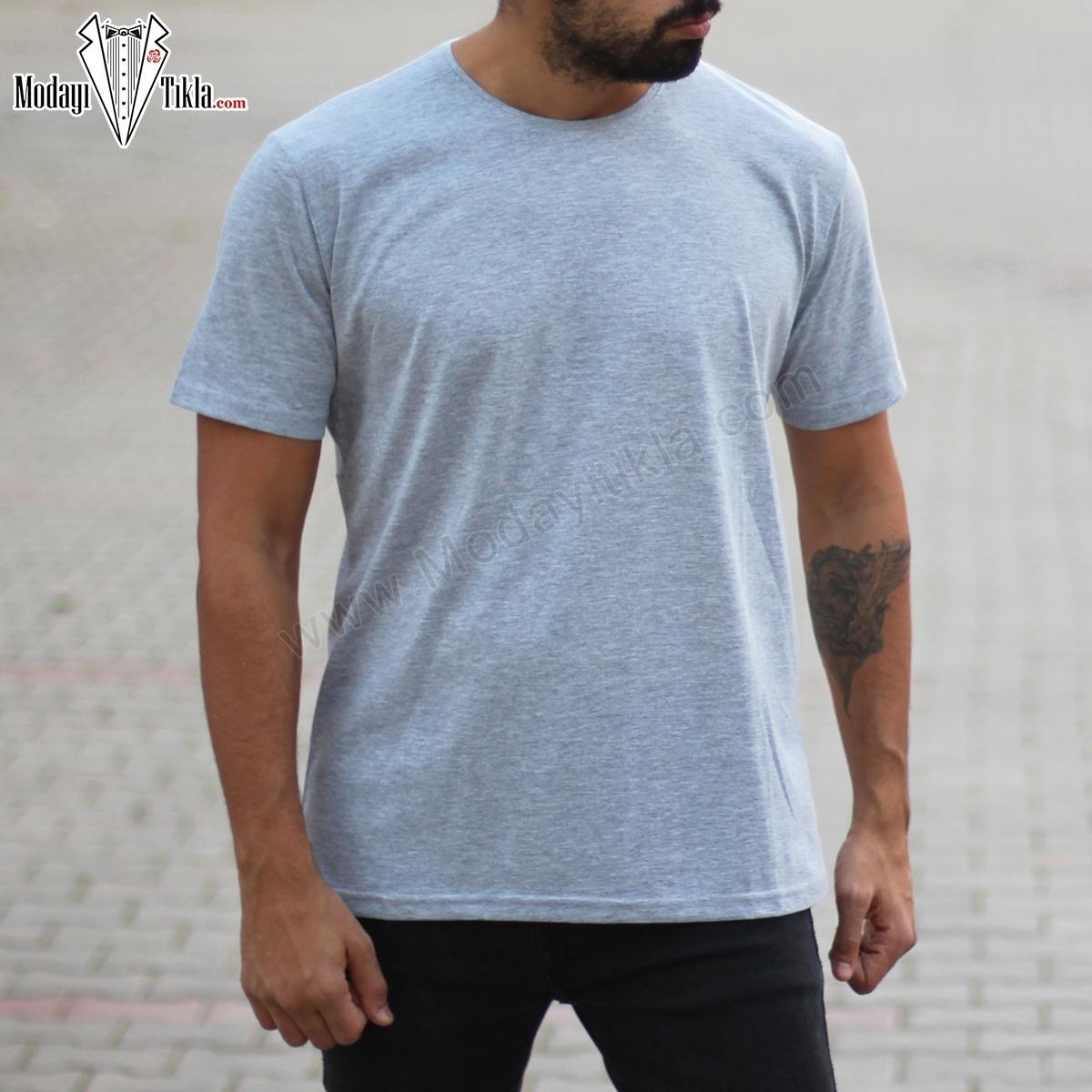 Erkek Oversize Basic  Gri T-shirt