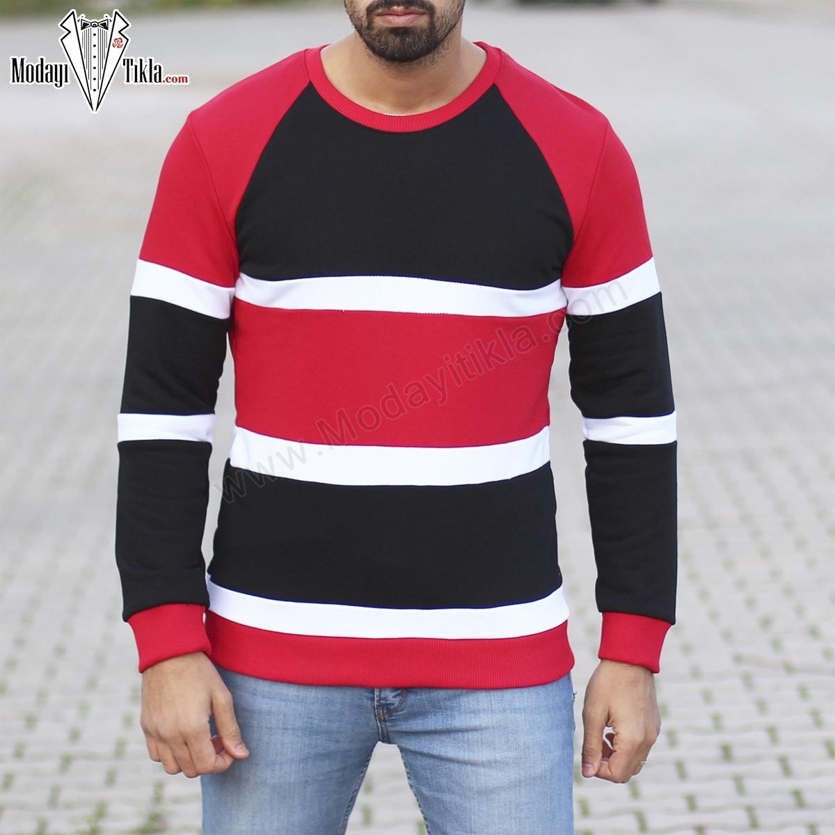 Erkek Kırmızı Siyah Sweatshirt