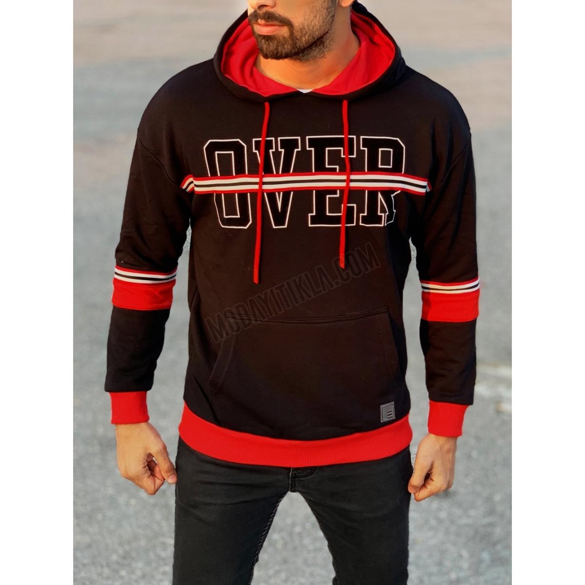 Erkek Kapüşonlu Siyah Over Yazı Detaylı Sweatshirt