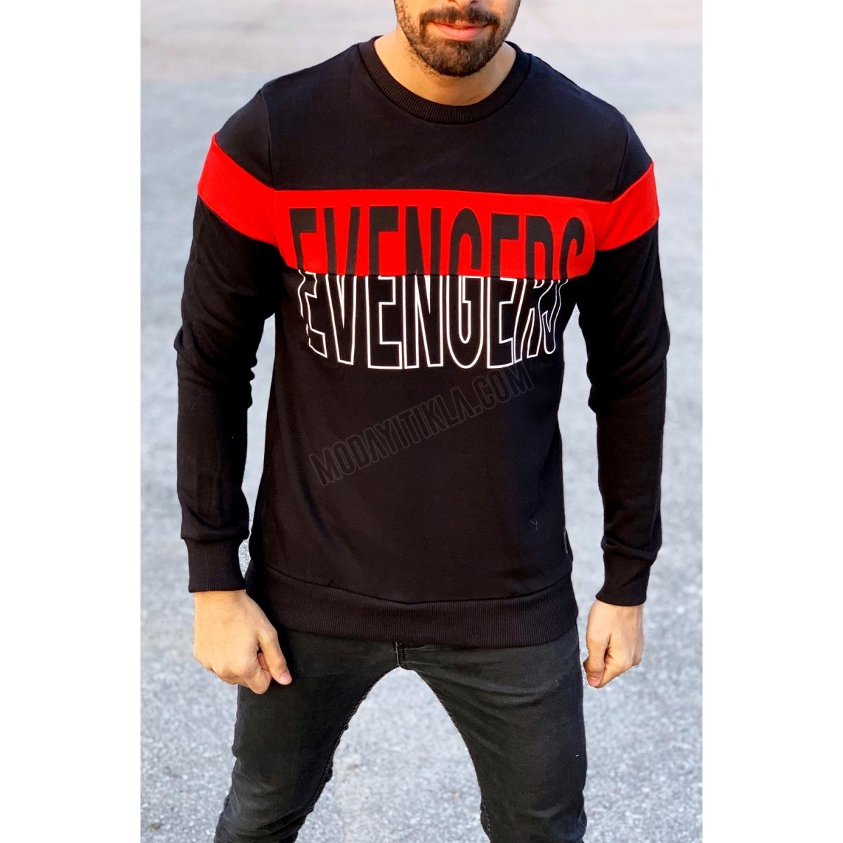 Erkek Evengers Yazı Detaylı Siyah Sweatshirt
