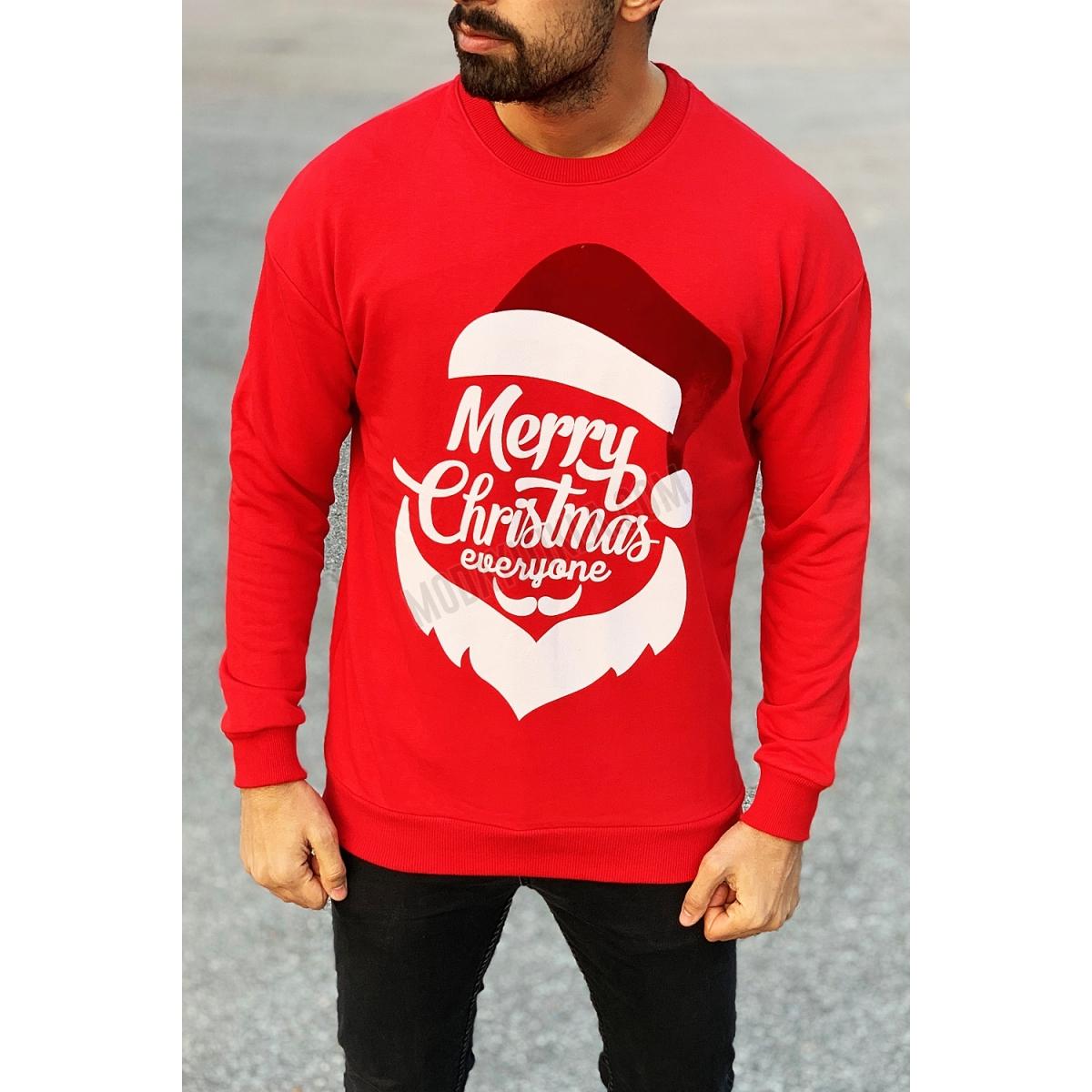 Erkek Merry Christmas Yazılı Kırmızı Sweatshirt