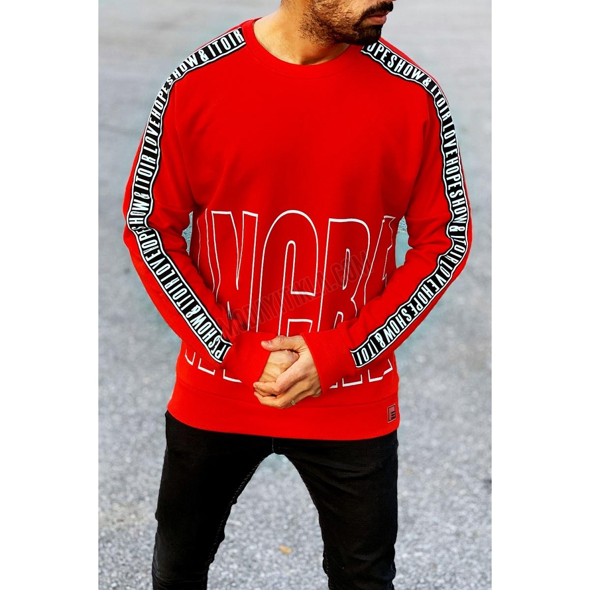 Erkek Kolu Şeritli Kırmızı Sweatshirt