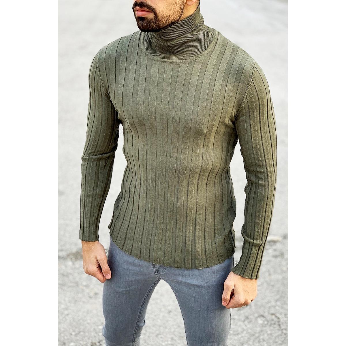 Erkek Boğazlı Haki Sweatshirt