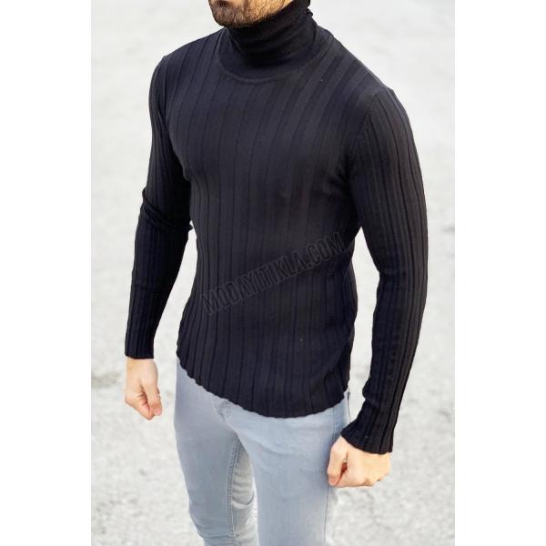 Erkek Boğazlı Siyah Sweatshirt