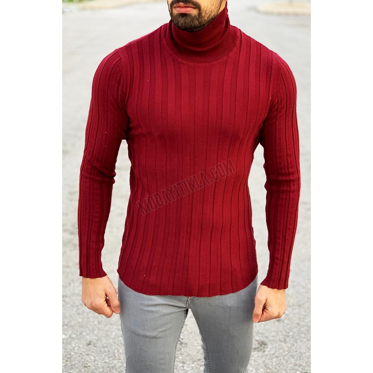 Erkek Boğazlı Bordo Sweatshirt