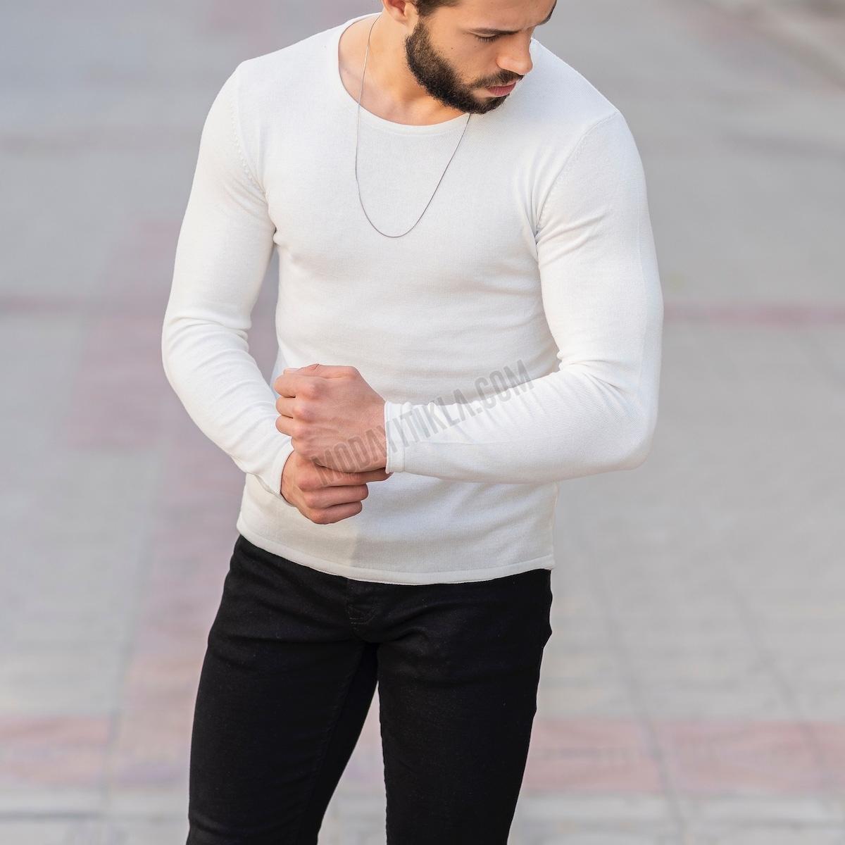 Erkek Bisiklet Yaka Beyaz Sweatshirt