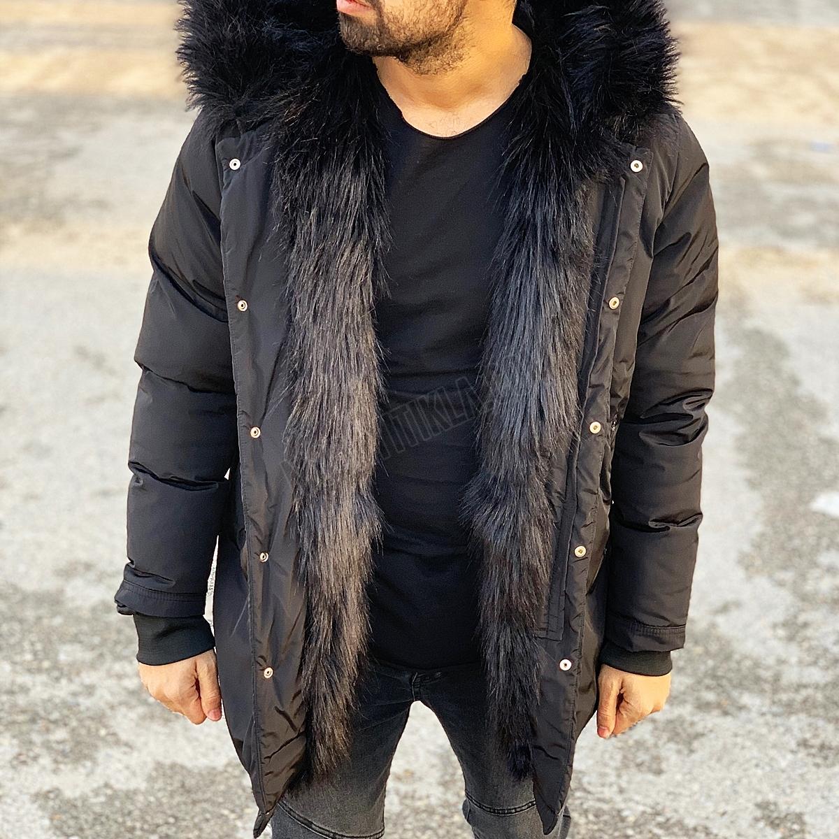 Erkek Kalın Kürklü Kapüşonlu Siyah Şişme Mont