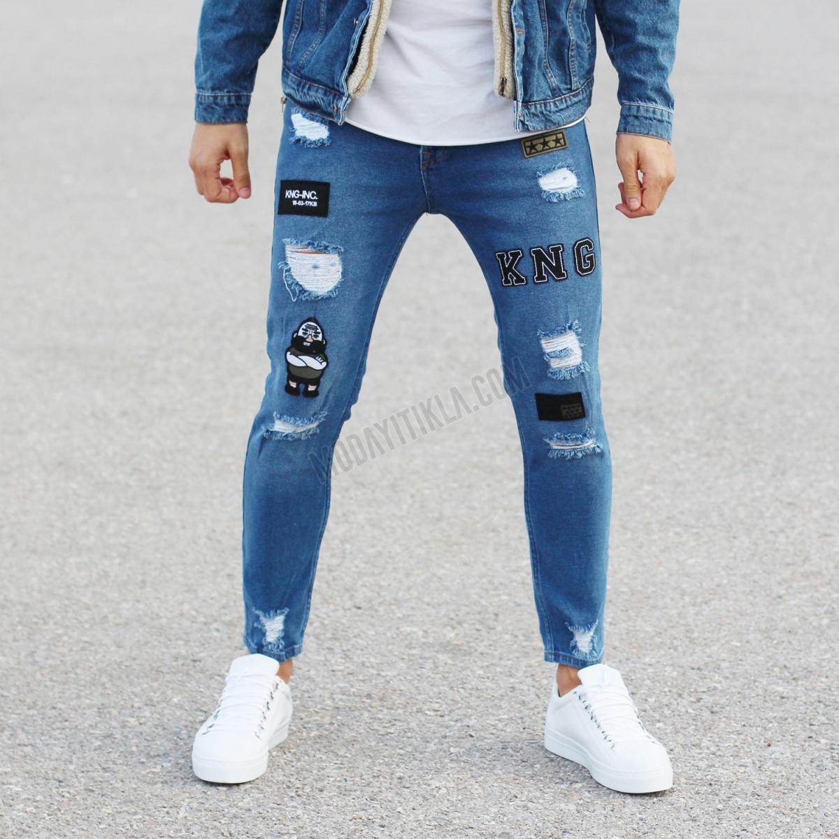 Erkek Likralı Armalı Mavi Kot Pantolon