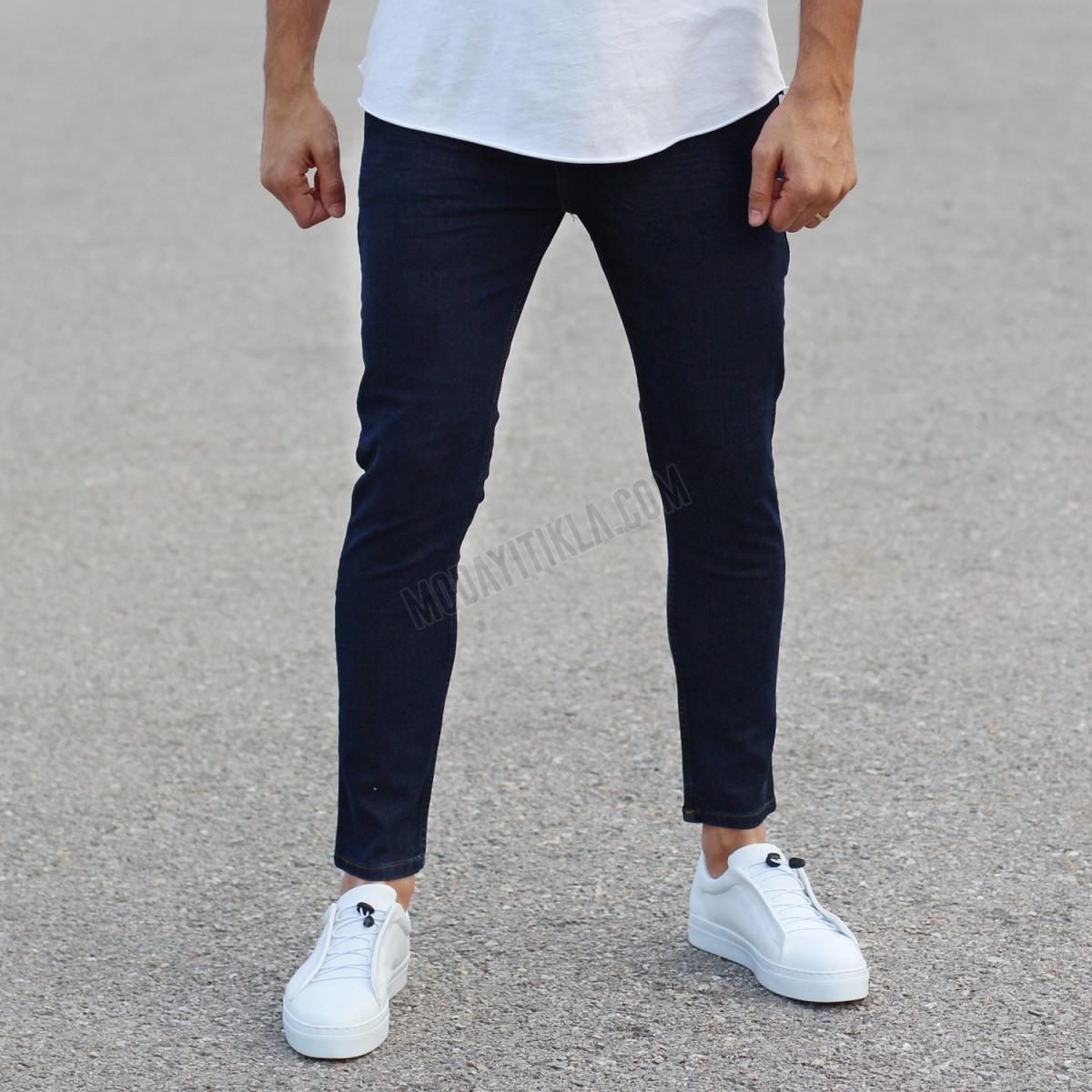 Erkek Likralı Lacivert Kot Pantolon