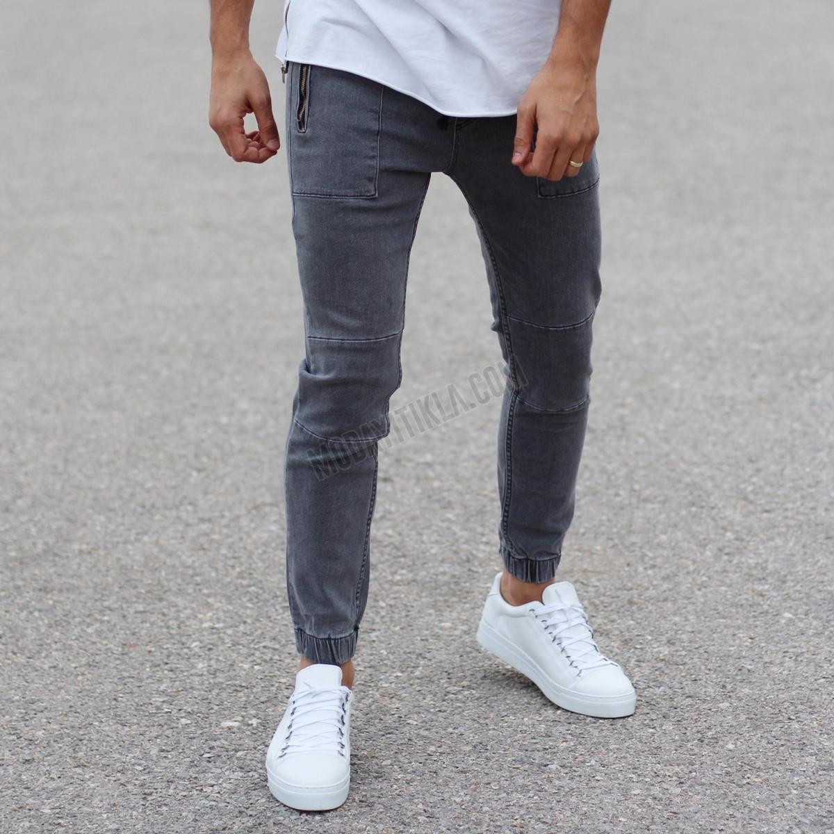 Erkek Likralı Dizleri Dikişli Gri Pantolon