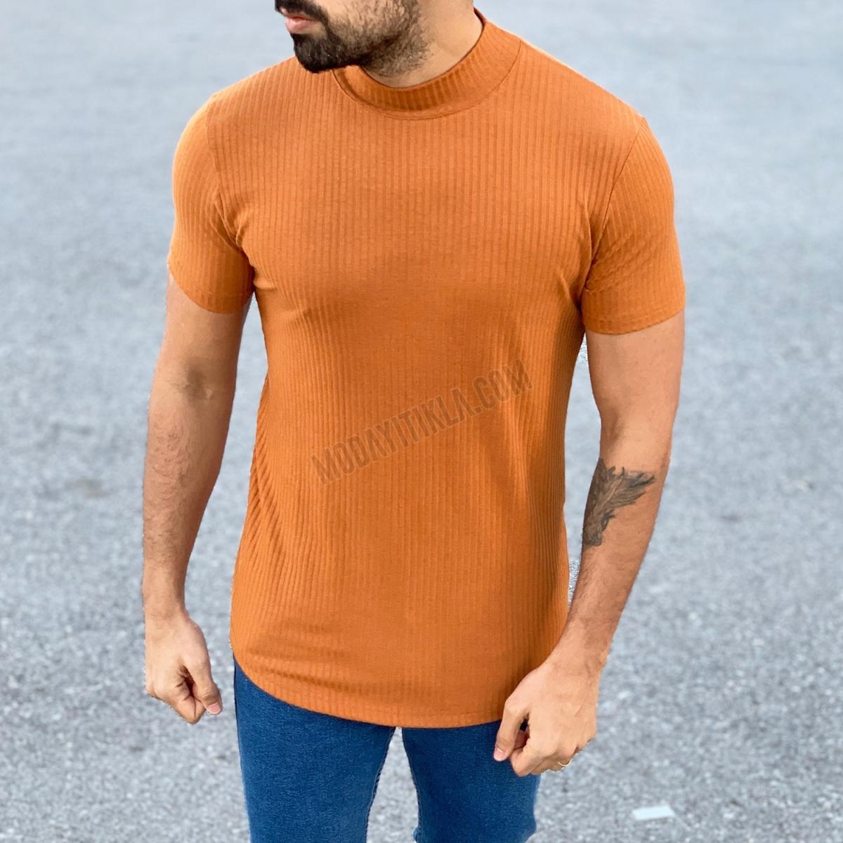 Erkek Yarım Boğaz Camel Fitilli T-shirt