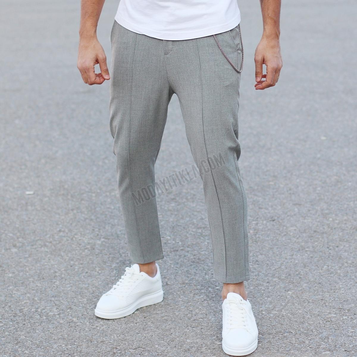 Erkek Zincirli Gri Carrot Fit Pantolon