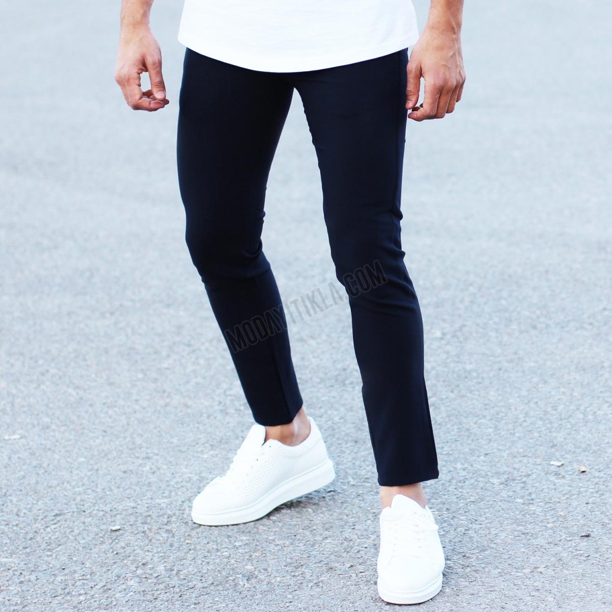 Erkek Dar Paça Likralı Kumaş Pantolon Lacivert