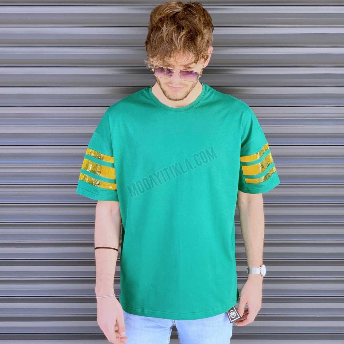 Erkek Kolları Detaylı Oversize Tişört Yeşil