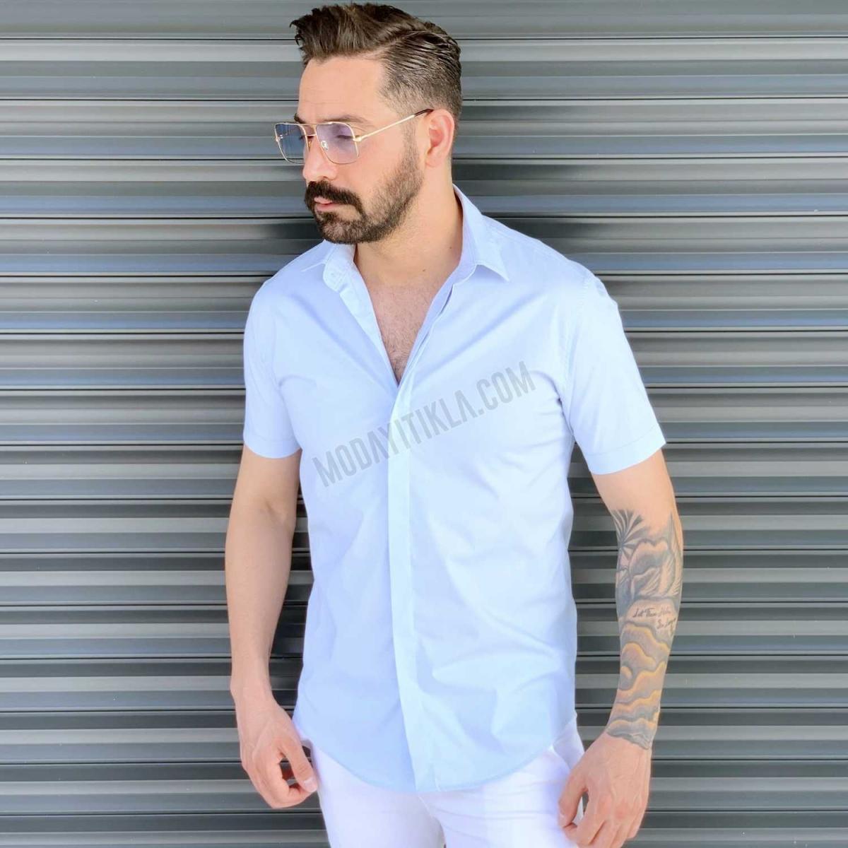 Erkek Kısa Kollu Buz Mavisi Gömlek