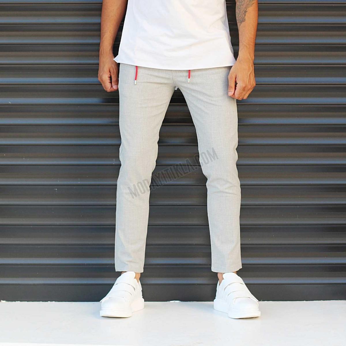 Erkek Slim Fit Likralı Spor Pantolon Gri