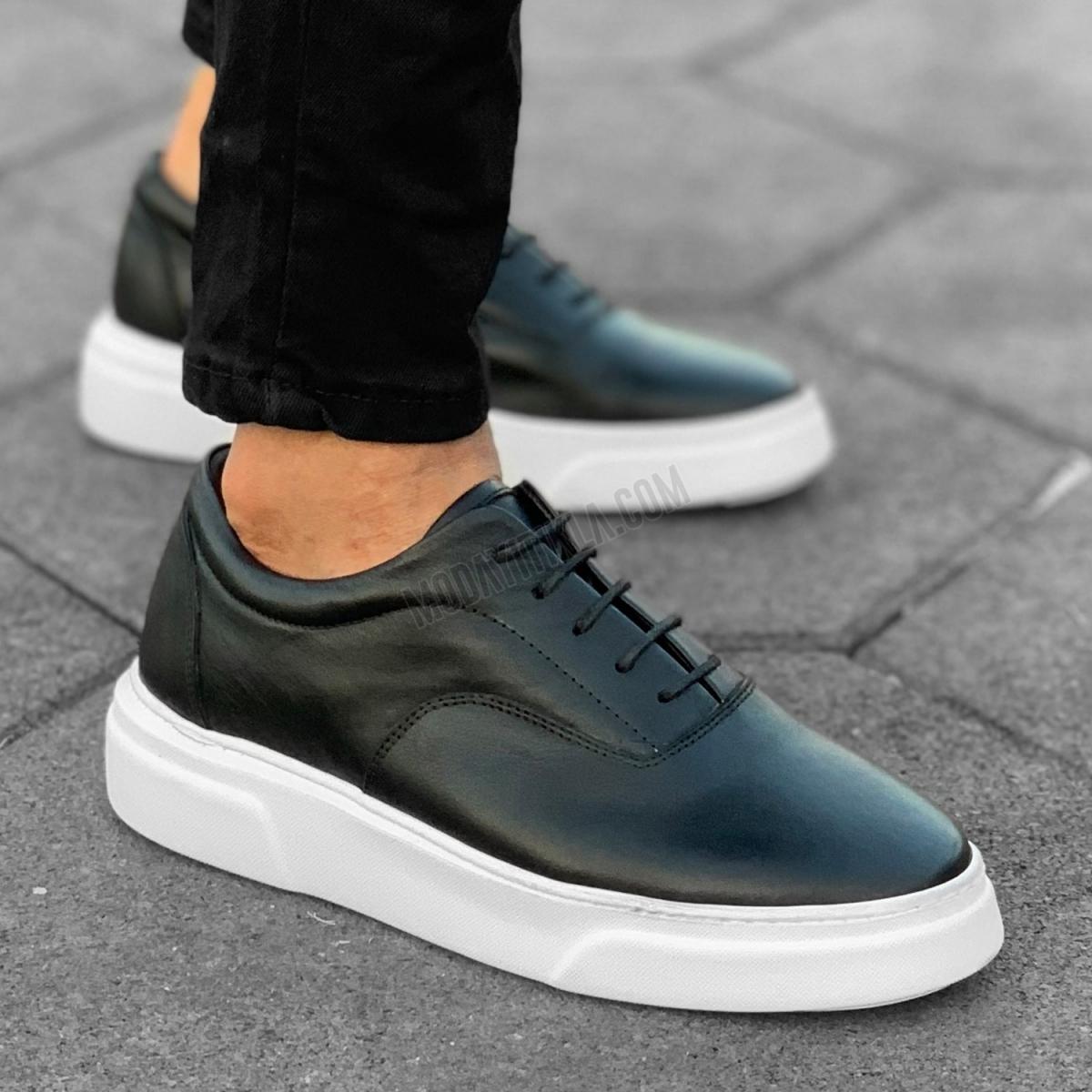 Erkek Premium Hakiki Deri Beyaz Taban Bağcıklı Sneaker Ayakkabı Siyah