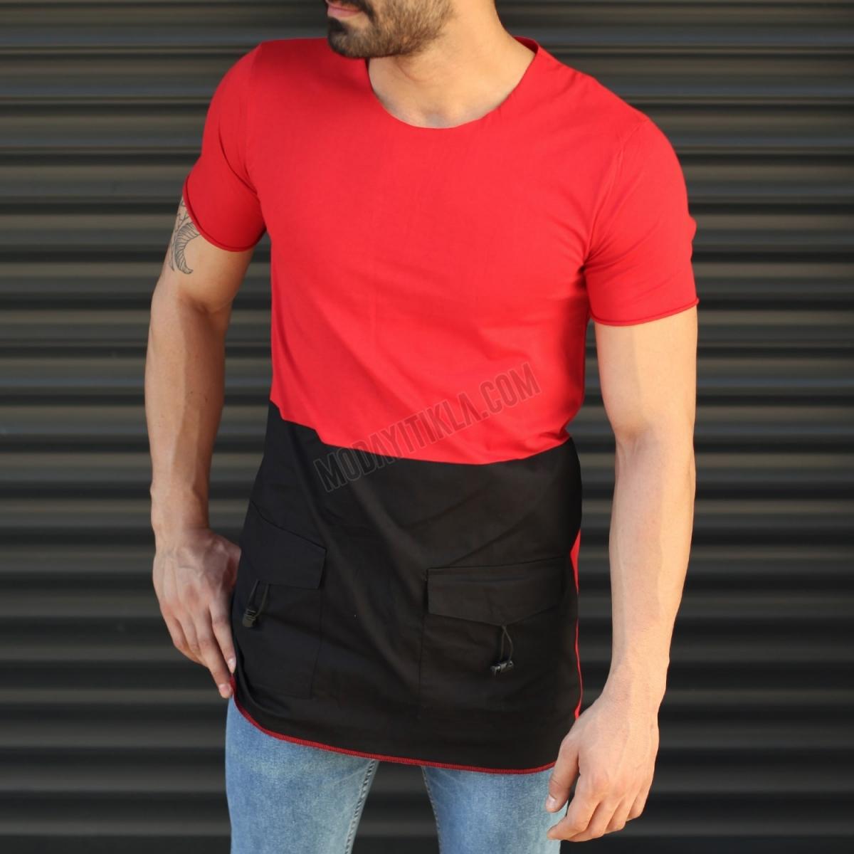 Erkek Oversize Parçalı Uzun Tişört Kırmızı