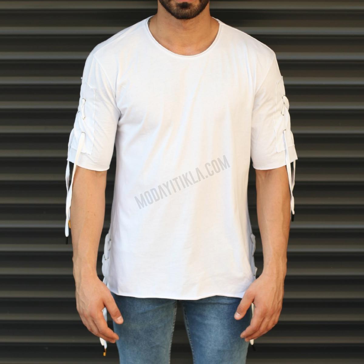 Erkek Kol ve Bel İp Tasarım Yuvarlak Yaka Tişört Beyaz