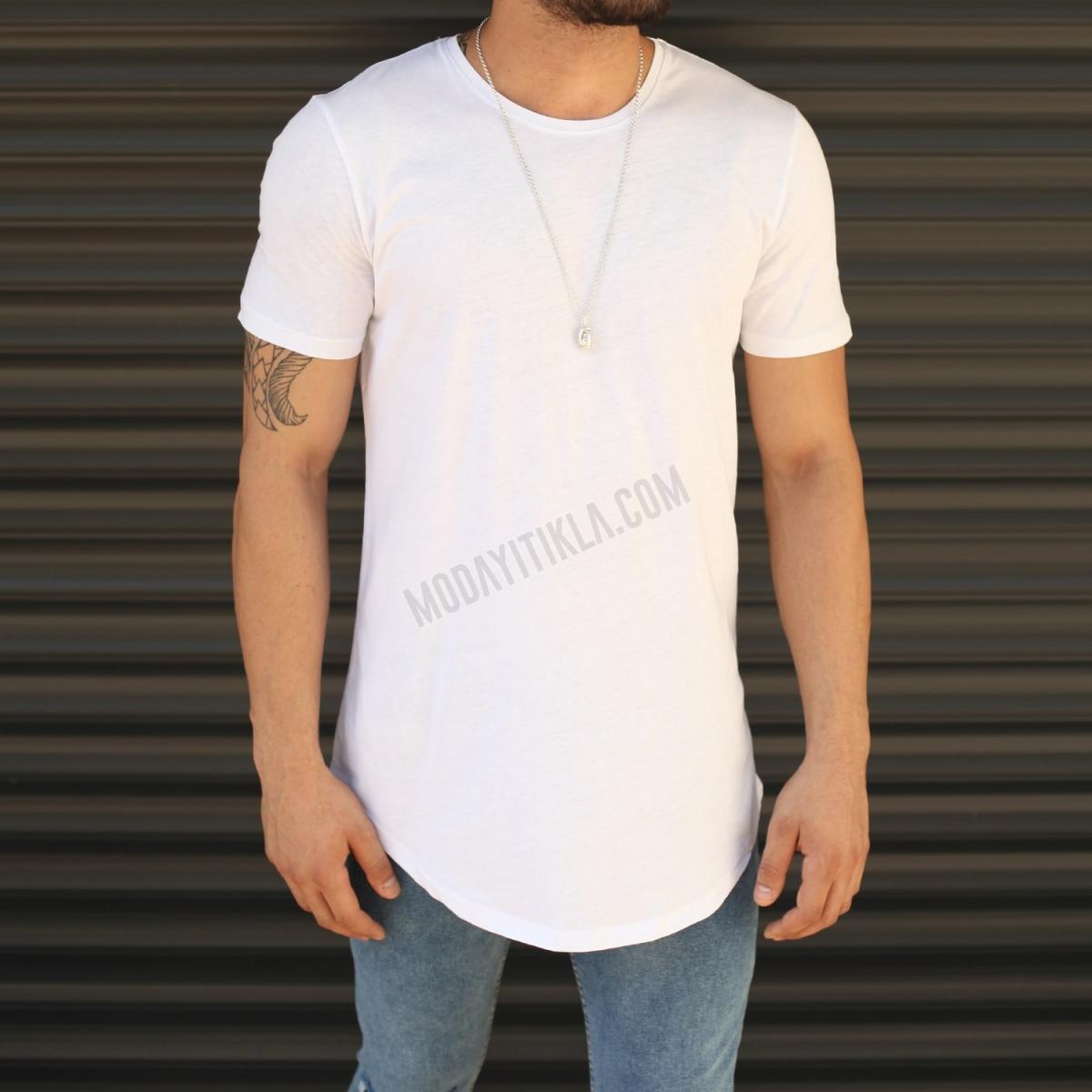 Erkek Slim Fit Yuvarlak Yaka Longline Uzun Tişört Beyaz