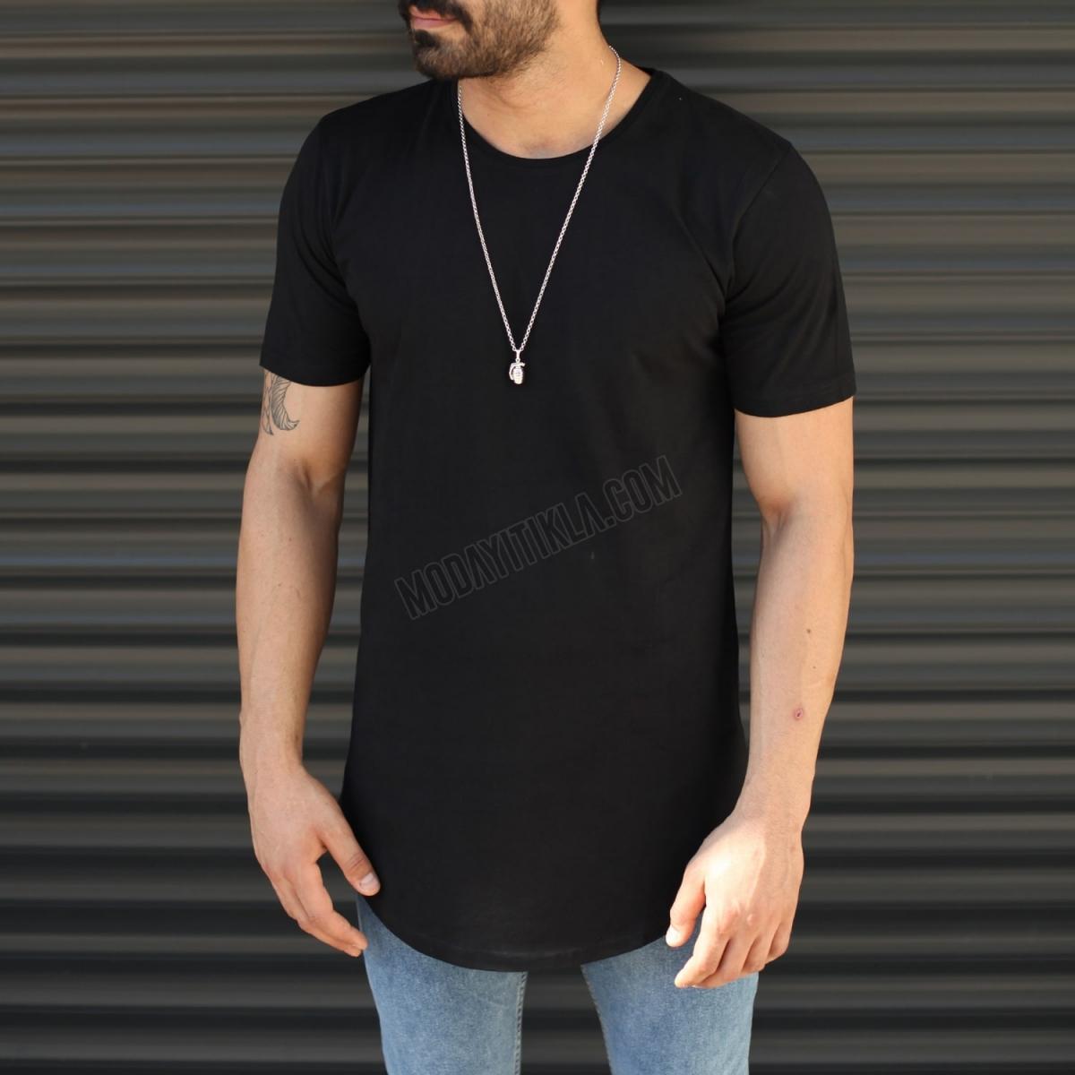 Erkek Slim Fit Yuvarlak Yaka Longline Uzun Tişört Siyah