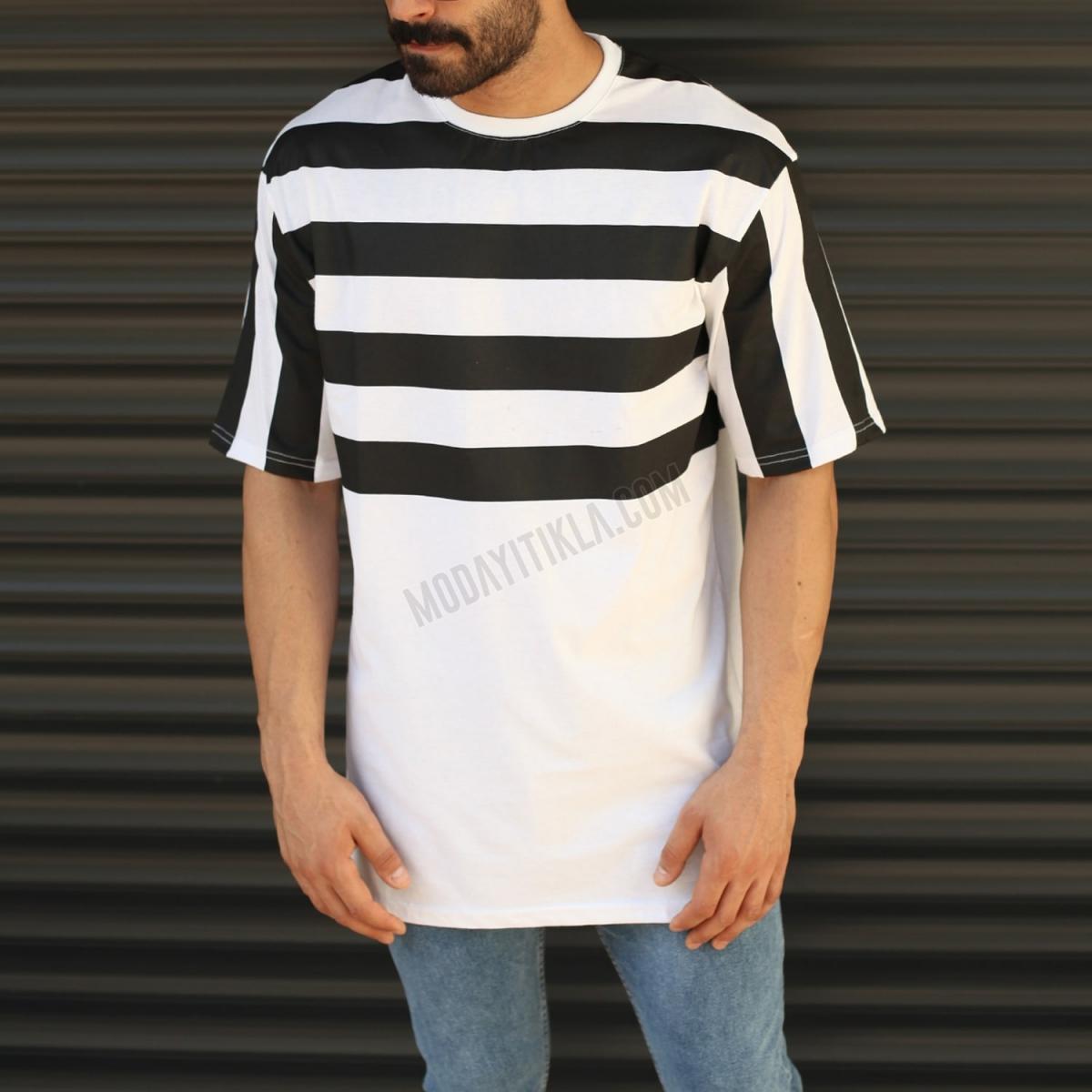 Erkek Kalın Çizgili Yuvarlak Yaka Uzun Tişört Beyaz