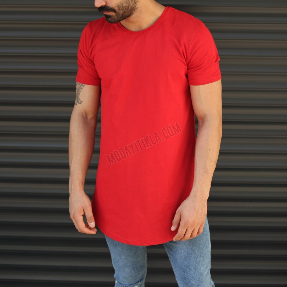 Erkek Yandan Fermuar Detay Bisiklet Yaka Tişört Kırmızı
