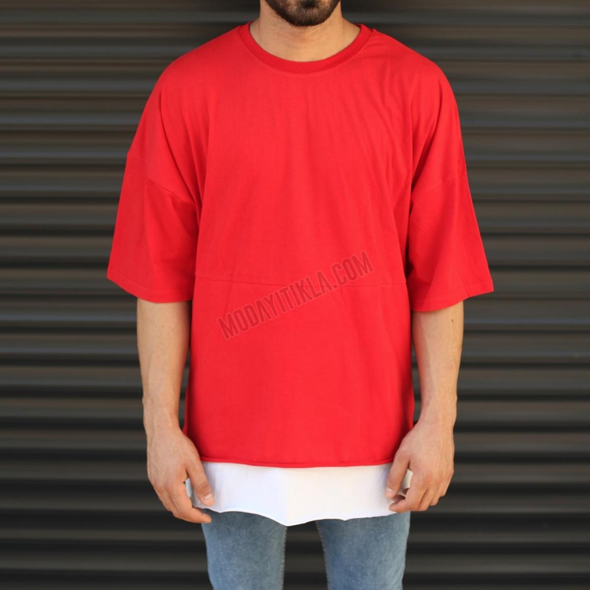 Erkek Yandan Fermuar Detay Oversize Tişört Kırmızı