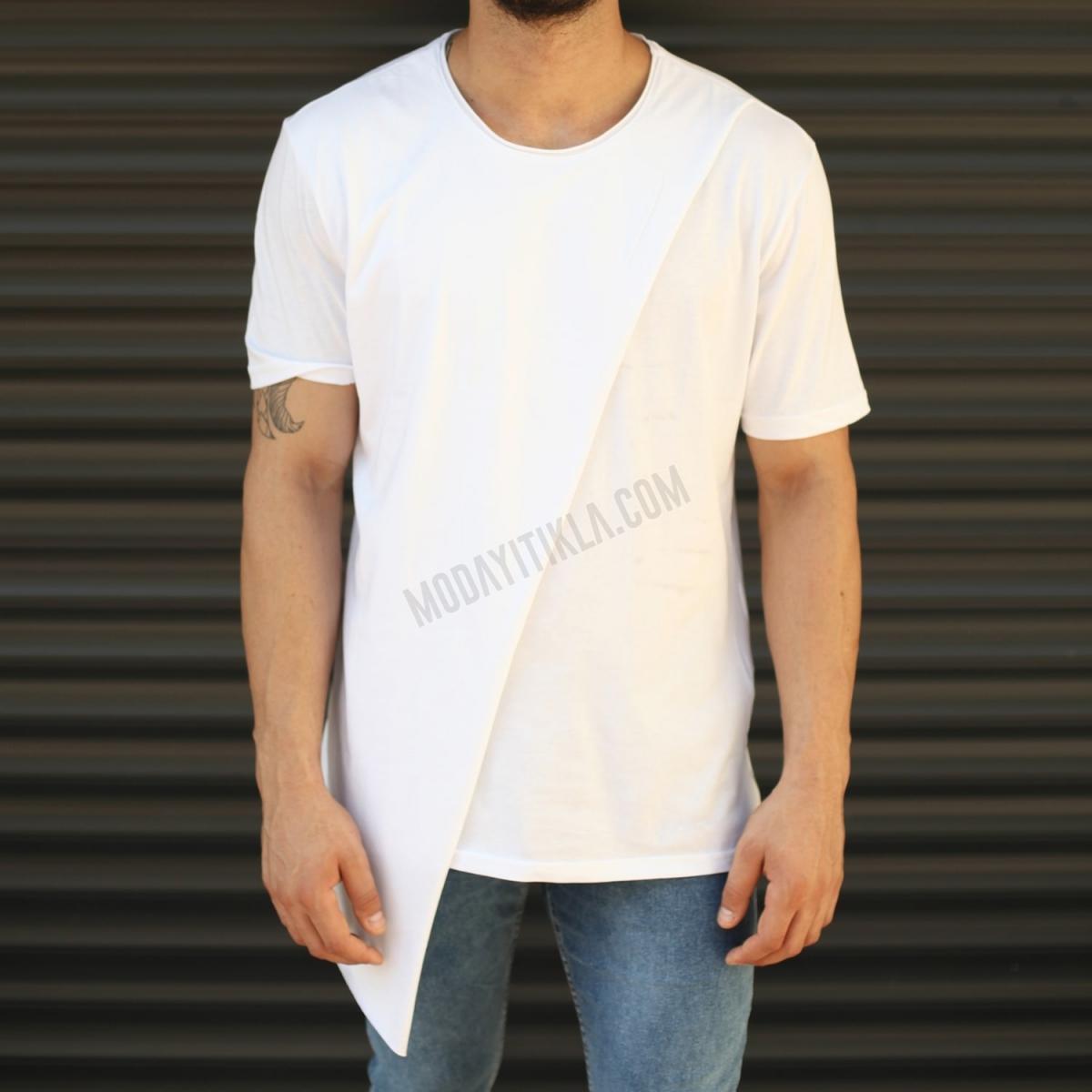 Erkek Çapraz Geometrik Kesim Uzun Tişört Beyaz