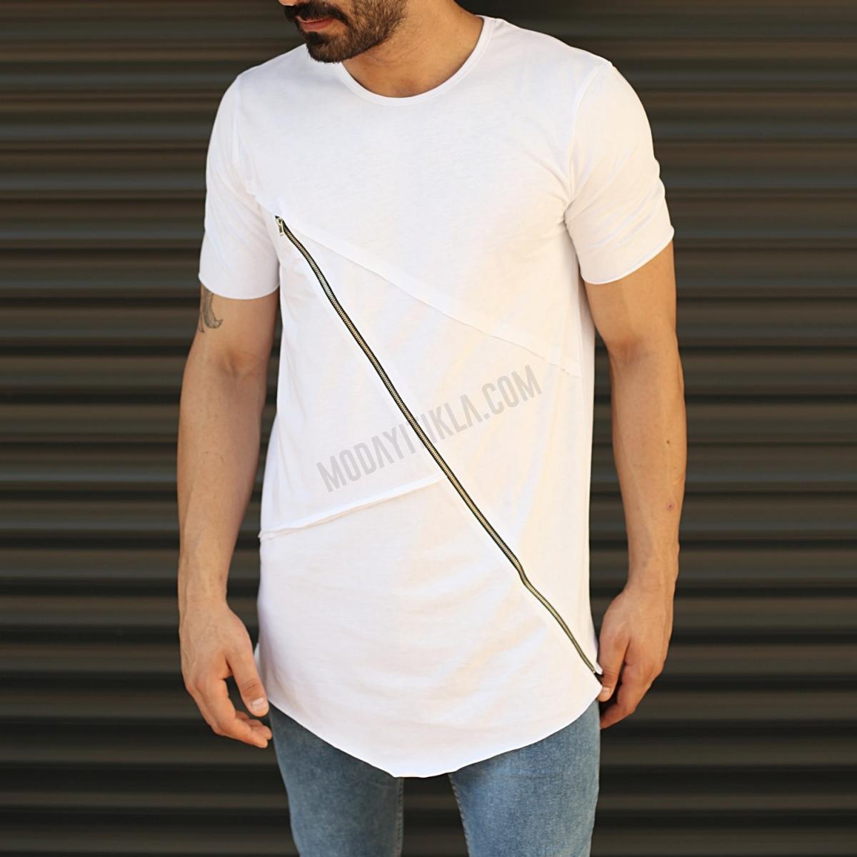 Erkek Çapraz Fermuar Dizayn Slim Fit Uzun Tişört Beyaz
